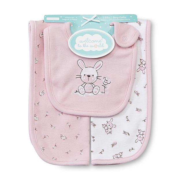 Welcome to the World Newborn Girl's Bib & Burp Cloths - Bunny