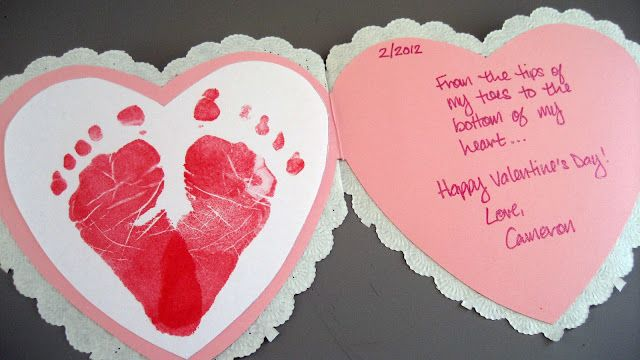 10 Easy Homemade Valentine's Ideas - Footprint Heart Valentines Day Card