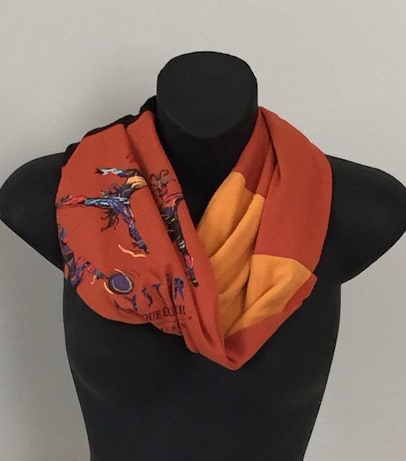Single Loop Upcycled Tshirt Scarf, Cirque de Solei Scarf, Rust/Gold/Black Scarves, All Cotton Scarves, Vintage and Recycled Scarf