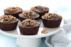 Hungry Girl's Healthy Flourless Mini PB Chocolate Cakes - black beans, unsweetened cocoa powder, egg whites/fat-free liquid egg substitute, unsweetened applesauce, canned pure pumpkin, Truvia/other no-calorie granular sweetener, baking powder, vanilla extract, salt, peanut butter baking chips (might sub nuts and/or other add-ins)