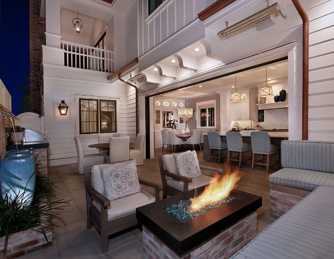 Firepit in small backyard. Patterson Custom Homes. Interiors by Trish Steele, Churchill Design.