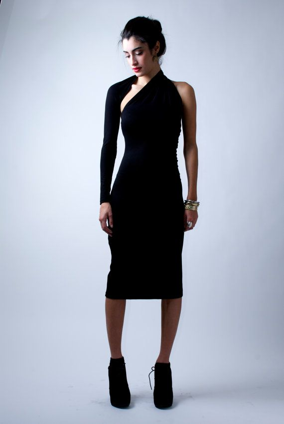 Black Dress / One-Shoulder Pencil Dress / Midi by marcellamoda