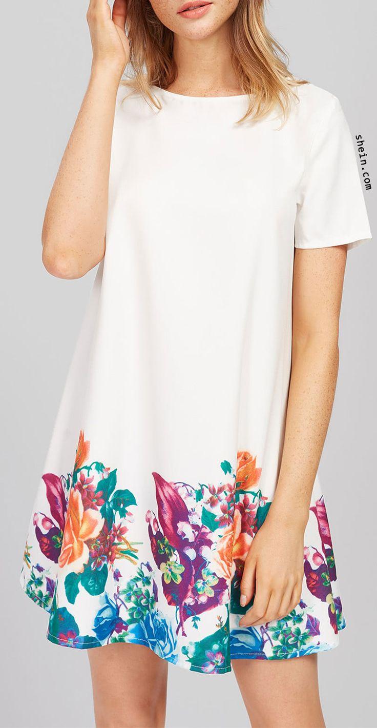 Flower Print Short Sleeve Dress