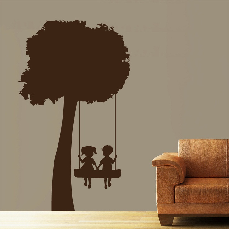 Tree Swing.-  wish I could only get the swing with the kids in it. -Rich could paint this on the wall.  Maybe give the little boy a cowboy hat.
