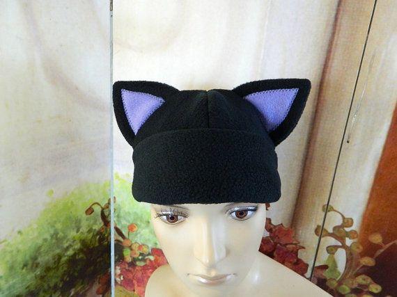 Cat Cap black lavender Gothic Anime Kawaii Punk Rock Costume Beanie