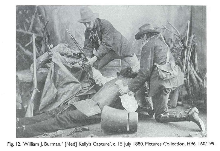 Fig. 12. William J. Burman, ' [Ned] Kelly's Capture', c. 15 July 1880. Pictures Collection, H96. 160/199. [photograph]