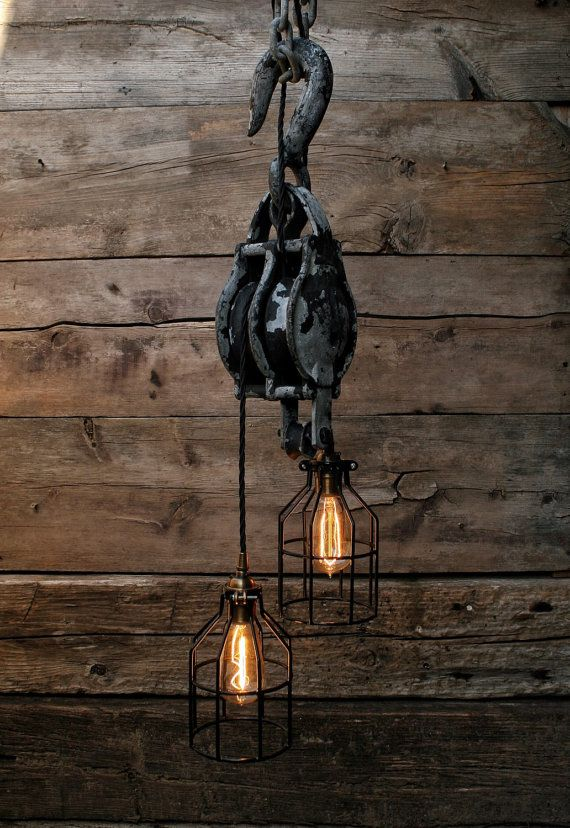 Large Pulley Chandelier - Block and Tackle - Pulley Pendant Light Industrial…