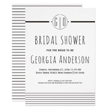 #invitations #wedding #bridalshower - #Black white stripes monogram wedding bridal shower card