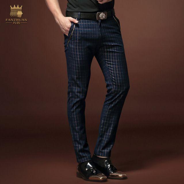 Fanzhuan Gratis Shippingnew moda Masculina Noveno pantalones de los hombres del hombre ocasional Delgado 2015 nuevo verano 15821 rayas de la personalidad a la venta