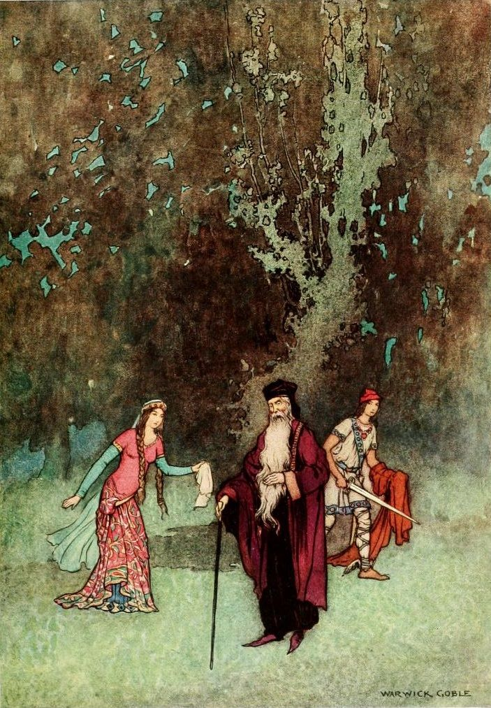 "Jack the Giant-killer - ""When the lady came she gave the handkerchief to the magician"", p. 76, ill. 8, Warwick Goble, The Fairy Book. The Best Popular Fairy Stories Selected and Rendered Anew, by Dinah Craik, London, 1913"