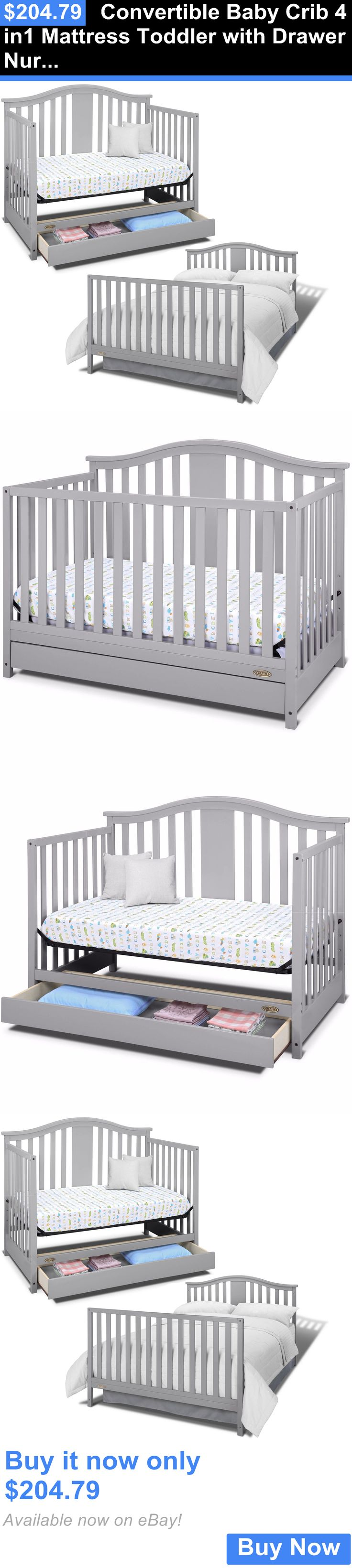 Used crib for sale ebay - Baby Nursery Convertible Baby Crib 4 In1 Mattress Toddler With Drawer Nursery Bed Pebble Gray