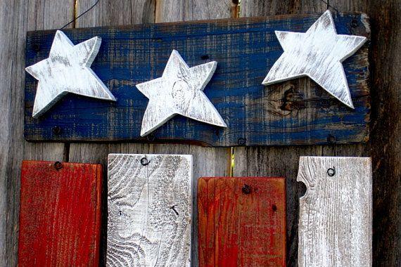 Rustic Reclaimed Wood Americana Flag