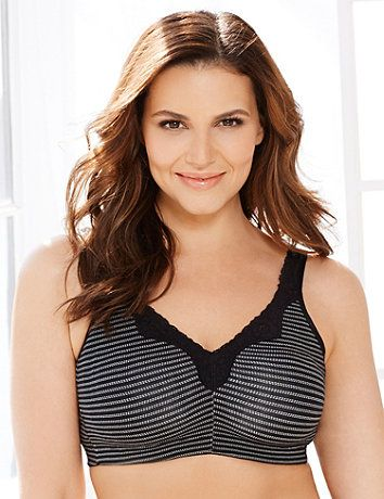 So supportive, you won't miss the wire! This everyday bra comes in a comfortable, cotton fabric and features a unique, pick stitch stripe print. A feminine lace trim accents the neckline and adjustable straps. Soft cups conform to your shape. Pick up our Pick Stitch Cotton Brief for a matching look. Catherines plus size bras offer the support and extended sizes you need in the comfortable and fashionable styles you crave. catherines.com
