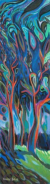 """Tableau """"Le sous bois"""" de Vincent Dufour - Pastel sec de 40/120cm [tableau de style figuration libre et nouvelle figuration]"""