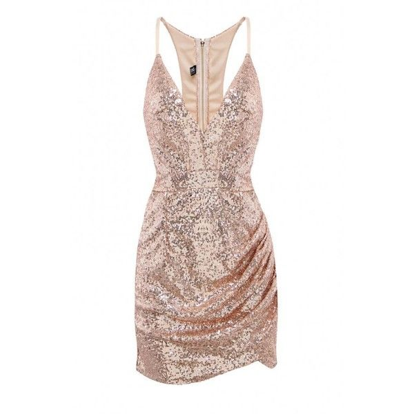 Yoins Yoins Sequin Dress ($20) ❤ liked on Polyvore featuring dresses, gold, bodycon cocktail dress, cut out bodycon dress, v neck sequin dress, vneck dress and sequin body con dress