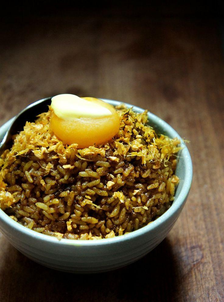 curry fried rice with ginger garlic crisps/egg yolk/melting butter.