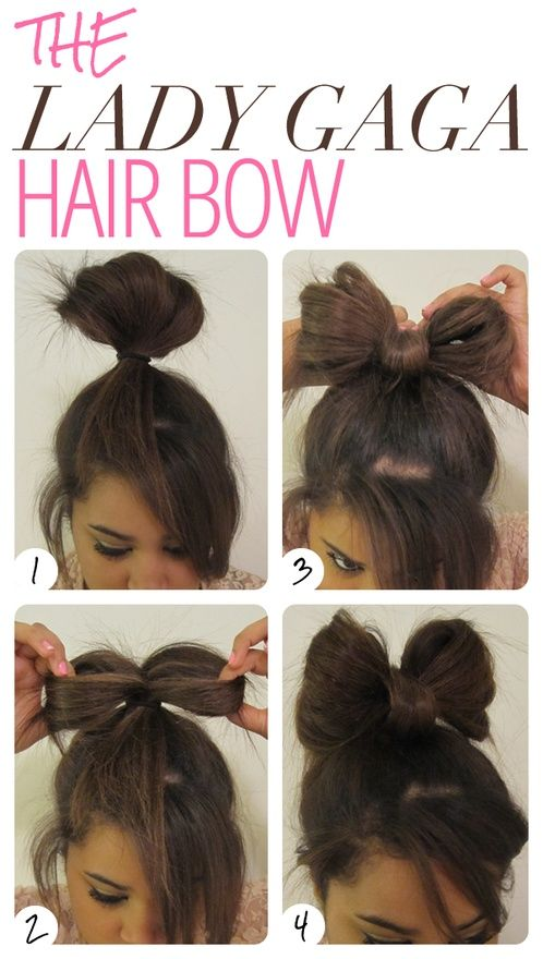 Easy fast way to do a hair bow! Good if youre running late and want to look cute! -This almost makes me wish I had long hair. Almost. Because bow ties are cool. :3 xDD