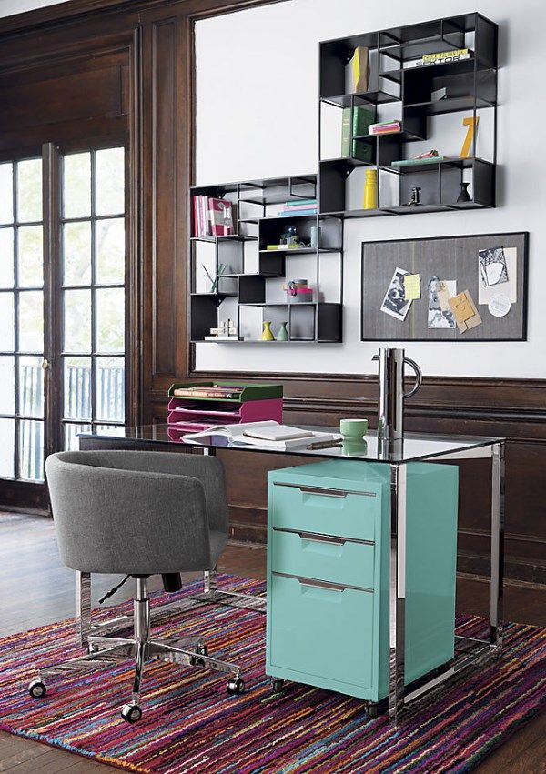 Chic, tidy work area featuring items from CB2. love the colors.