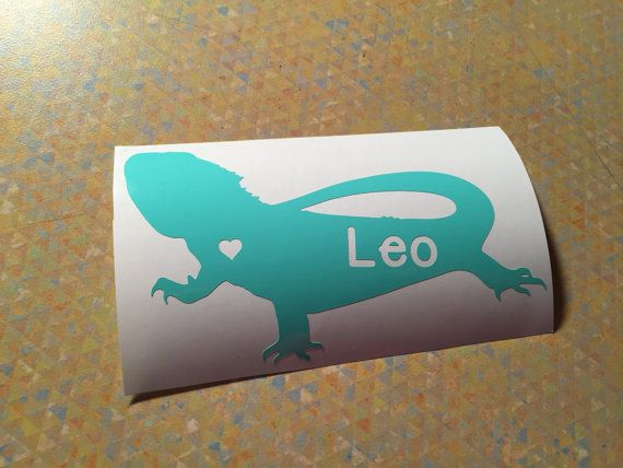 Bearded Dragon Decal with Name Cut-Out Custom Car Decal