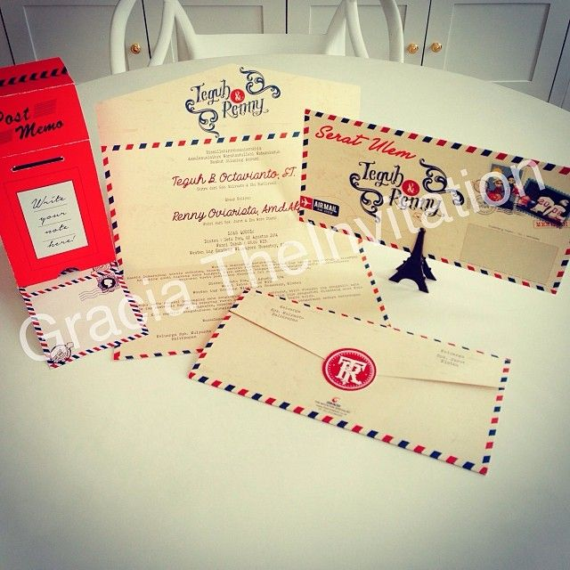 Post box memo souvenir and Airmail post Invitation #wedding #invitation #beautiful #couple #anniversary #party #vintage #design #unique #post