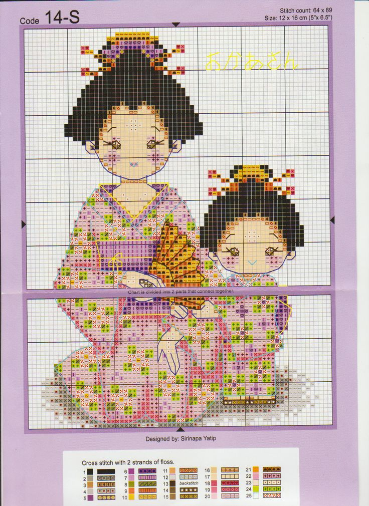 Cross-stitch Little Geishas...