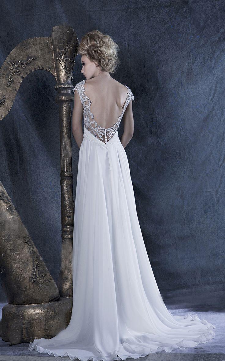 Wedding dress //Melissa// #openback #chiffon #lace #gown
