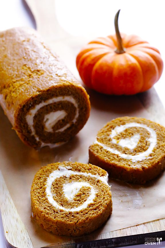 Homemade Pumpkin Roll -- simple to make, and filled with a delicious cream cheese icing | gimmesomeoven.com #dessert: