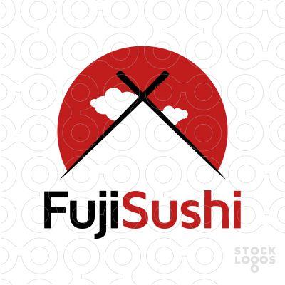 Exclusive Customizable Logo For Sale: Fuji Sushi Bar Restaurant | StockLogos.com #fuji #sushi #food #fish #japan #japanese #restaurant #mountain #Asian #cuisine