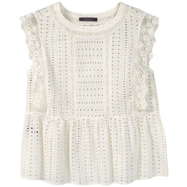Violeta by Mango Openwork Top, Natural White ($53) ❤ liked on Polyvore featuring tops, blouses, shirts, blusas, cap sleeve top, white shirt, plus size white tops, white top and ruffle sleeve top