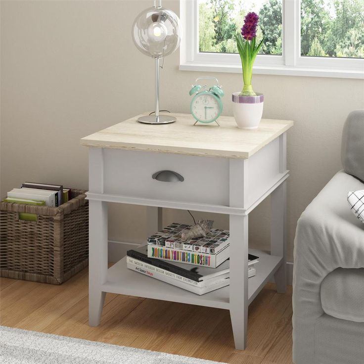 Ameriwood Home Laguna Oak Sharkey Grey End Table - Free Shipping Today - Overstock.com - 16991106 - Mobile
