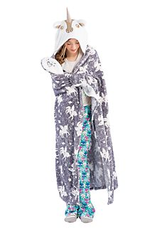 Cozy Hooded Sequin Unicorn Blanket