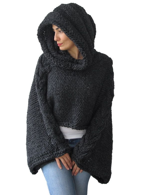 Plus Size Knitting Sweater Capalet with Hoodie - Over Size Dark Gray Cable Knit by Afra on Etsy, $85.00