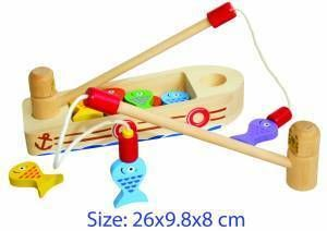Educational / Fun / Old Fashioned Wooden Toys - Machiko - a boutique for kids - Wooden Fishing Boat, Rod and Magnetic Fish, $24.95 (http://www.machikobaby.com.au/products/wooden-fishing-boat-rod-and-magnetic-fish.html)