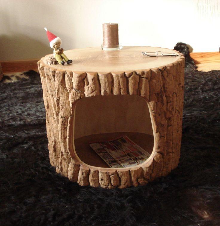 Beistelltisch Couchtisch Aus Einem Baumstamm Mit Rinde