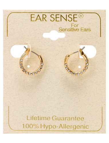These beautiful gold earrings feature inset crystals.