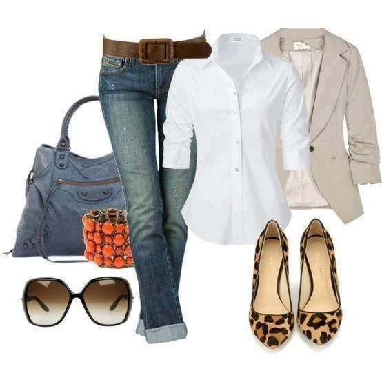 Cute Casual Friday outfit for work...white button down, tan jacket, denim, and leopard flats