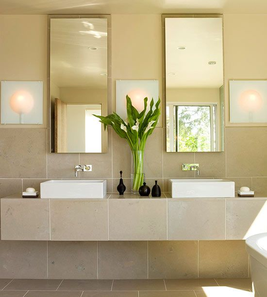 Soothing Bathroom Vanity. Love the flowing tiles would like some open timber shelves under this.