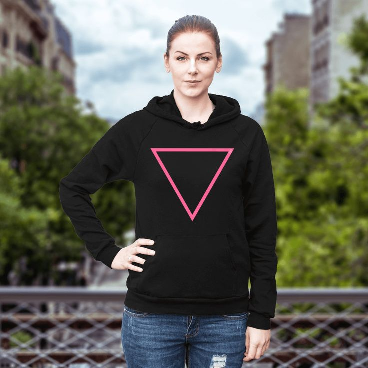 Pink Empty Triangle Front Hoodie – Multi Colour by BetweenLinesClothing on Etsy