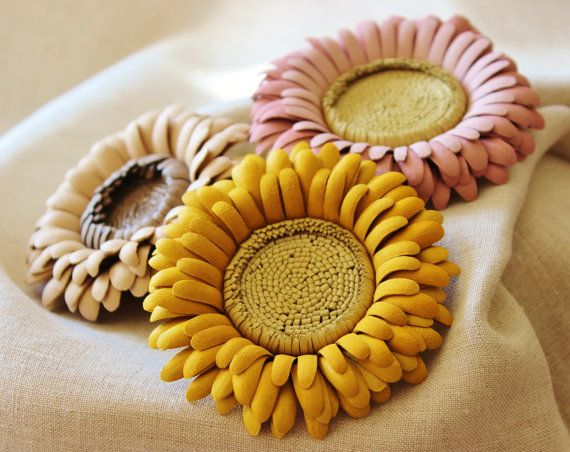Pink leather flower leather jewelry by PresentPerfectStudio