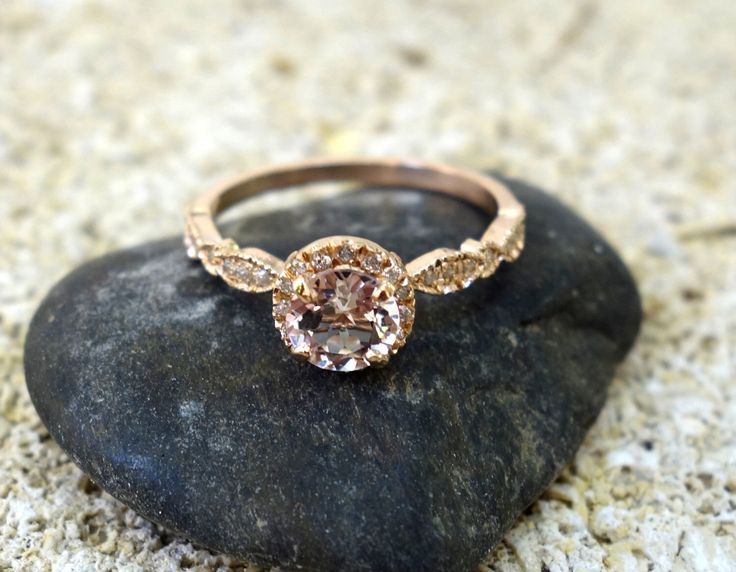 Halo Engagement Ring Wedding Ring Unique Engagement Ring Diamond Ring Morganite Engagement Ring Pave Diamonds Solid Gold Vintage Engagement by SeaofLoveee on Etsy https://www.etsy.com/ca/listing/398245017/halo-engagement-ring-wedding-ring-unique