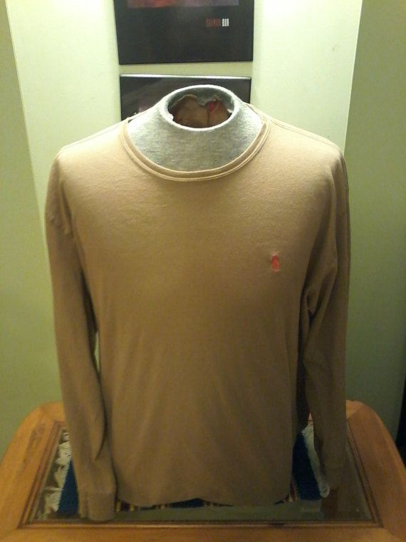 Vintage Tan T-Shirt Thin Long Sleeve By Polo Ralph Lauren