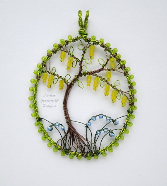 Laburnum wire tree pendant tree of life pendant by LouiseGoodchild