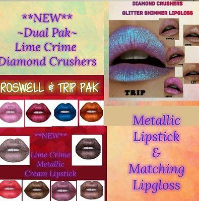 *DUAL PAK #1* Lime Crime Diamond Crushers Lipstick &Matching Gloss  (4-8 wk del)