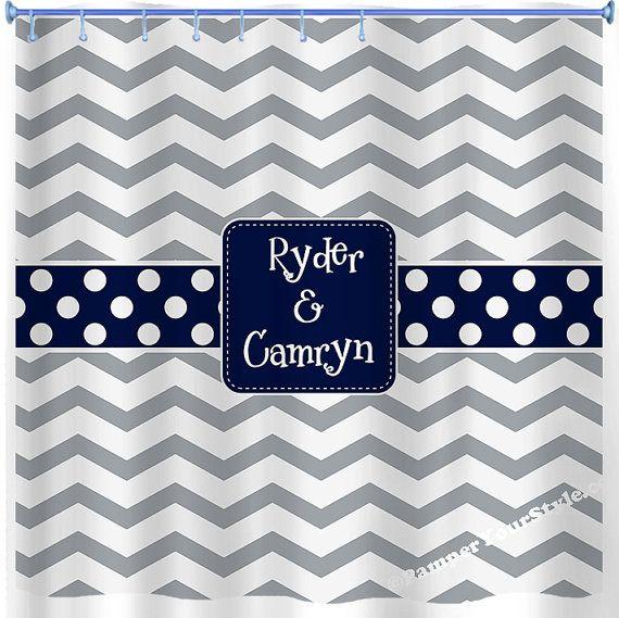 Chevron Shower Curtain - Neutral Shower Curtain - Gray and Navy Curtain - Guest Bathroom - Design your own Curtain - Boys and Girls Bathroom...