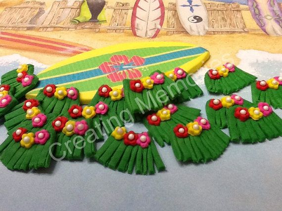 FONDANT HULA SKIRTS Fondant Toppers for Cupcakes by anafeke2, $15.00