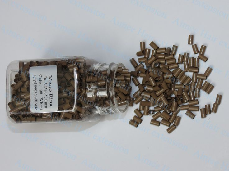 3.4*3.0*6.0mm8#Wheat 1000pcs/lot copper flared ring easily locks/copper tube micro link/ring /bead for i tip hair extension
