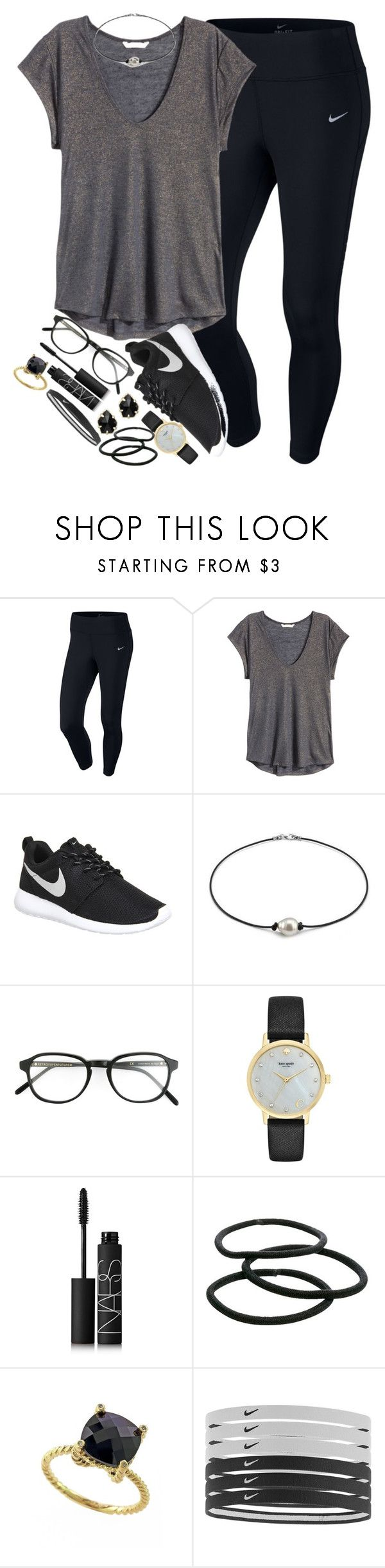 """""""black⚫️⚫️"""" by elizabethannee ❤ liked on Polyvore featuring NIKE, H&M, RetroSuperFuture, Kate Spade, NARS Cosmetics, Goody, Effy Jewelry and Kendra Scott"""