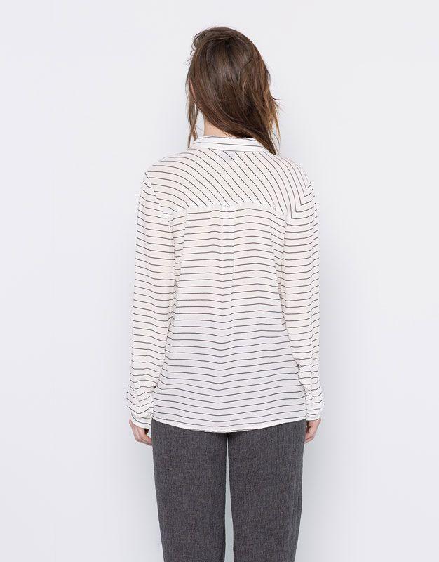 Camisa estampada manga comprida - Camisas - Blusas e camisas - Vestuário - Mulher - PULL&BEAR Portugal