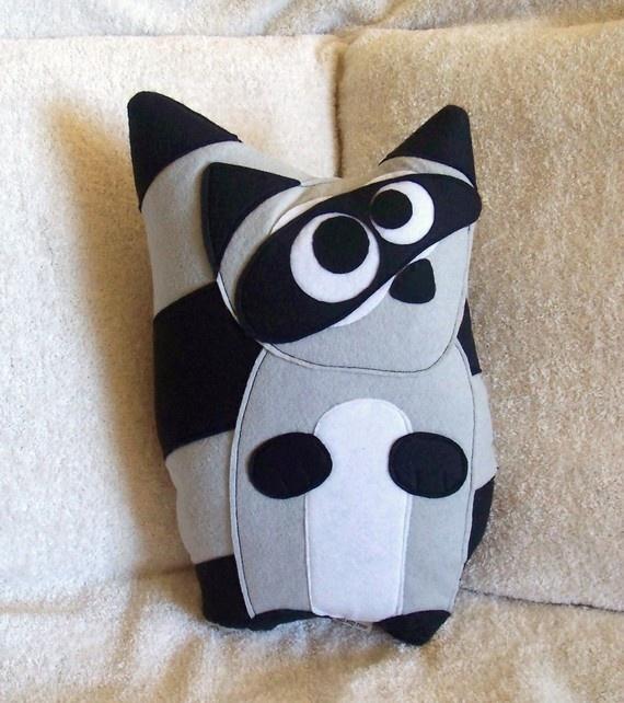 Bandit the Raccoon Plush Pillow Wool Felt