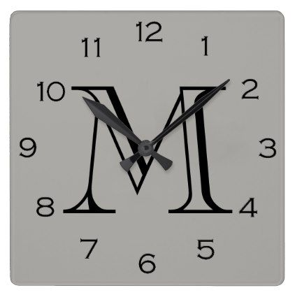 Monogram Black Numbers On Grey Wall Clock - home gifts ideas decor special unique custom individual customized individualized